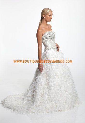 Robe de mariée de luxe avec bustier broderies organza