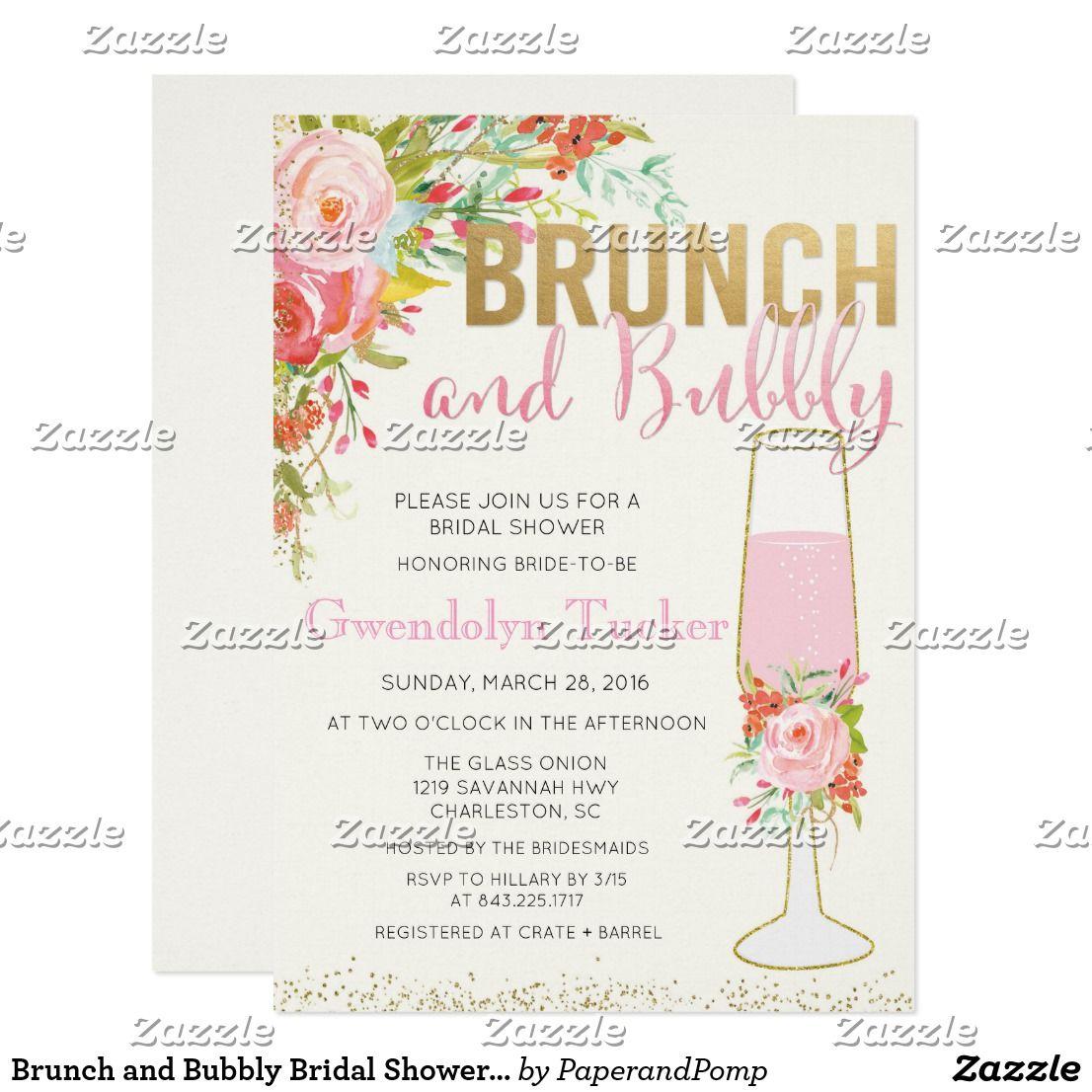 Brunch and Bubbly Bridal Shower Invitation | Bridal showers, Shower ...