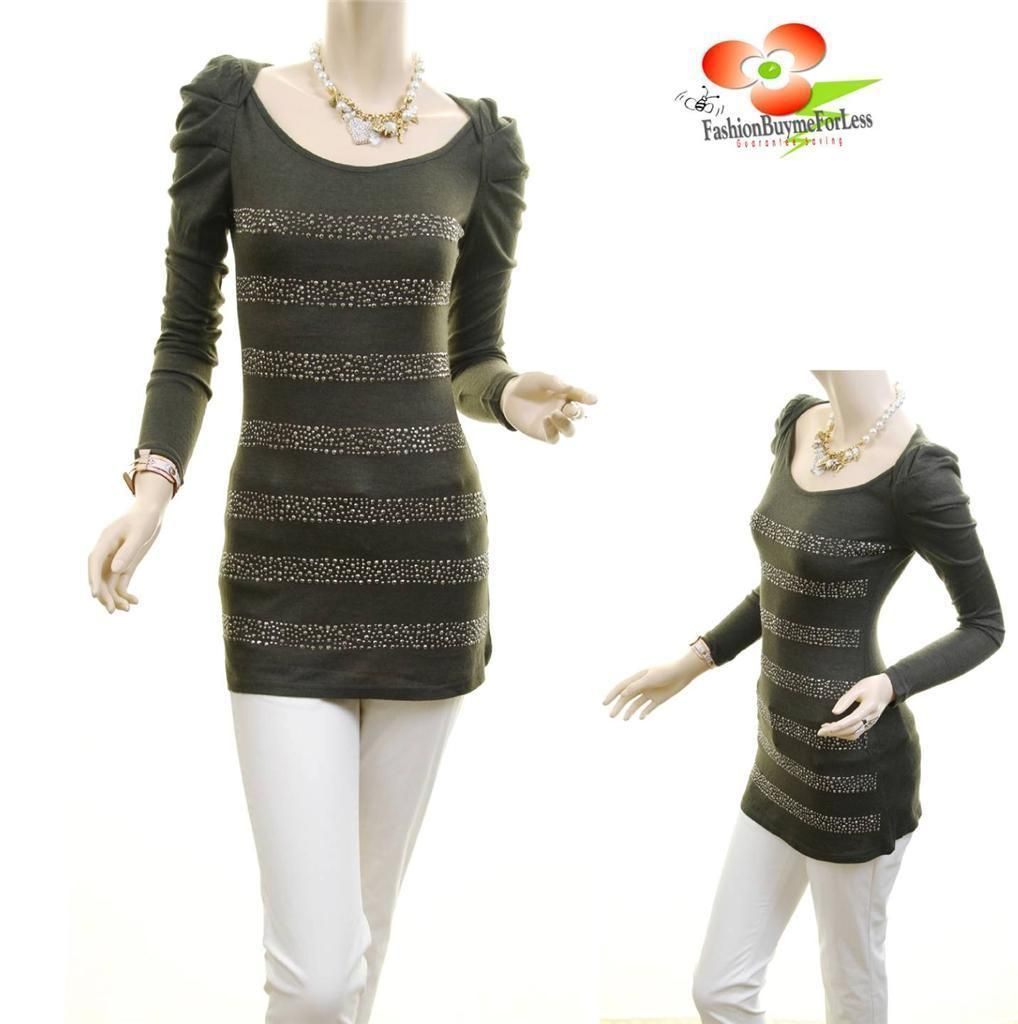 Celebrity Women Long Sleeve Studded Knit Fitted Tunic Sweater ...