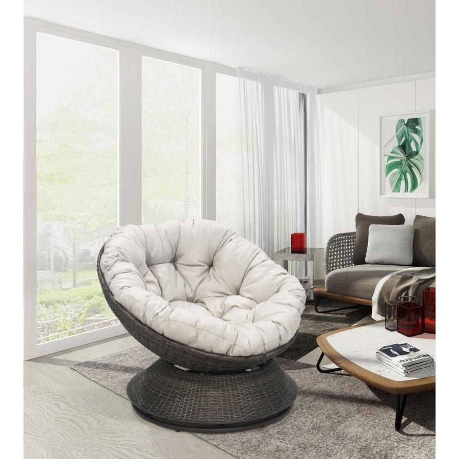 Donglin Furniture Ac Milan Egg Chair Antique Gray Papasan Chair Lowes Com Papasan Chair Papasan Chair Living Room Outdoor Papasan Chair
