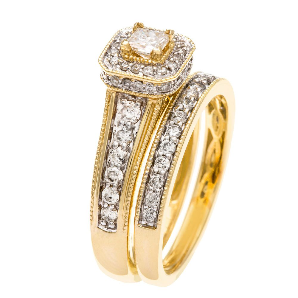 14k Yellow Gold 1ct TDW Certified Diamond Bridal Ring Set (H-I, I1-I2) | Overstock.com Shopping - Top Rated Bridal Sets