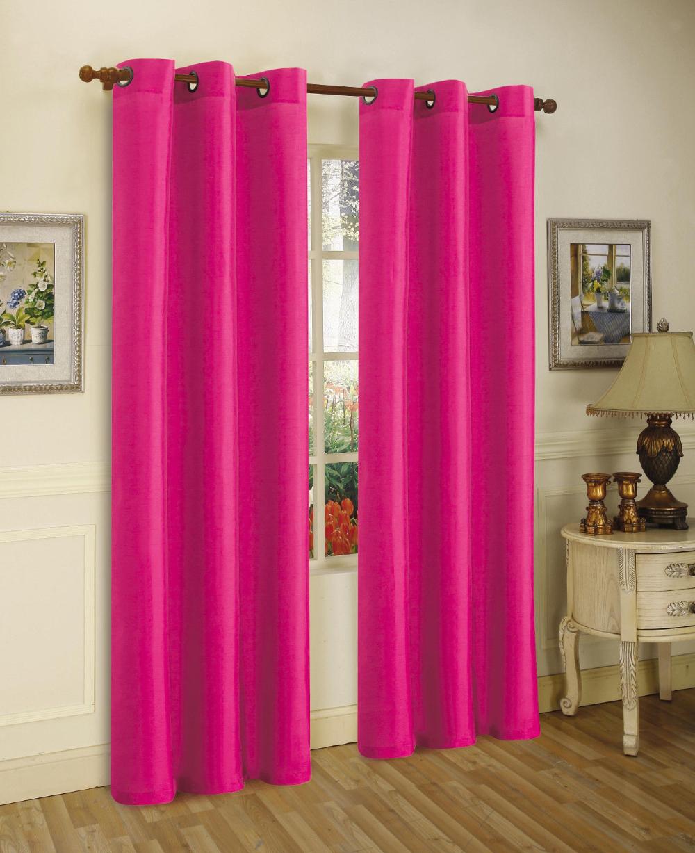 1 panel nancy solid hot pink semi sheer