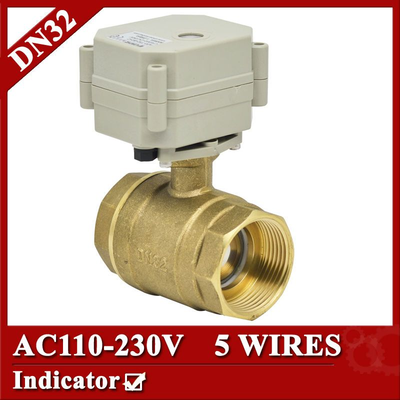 1 1 4 Electric Valve 2way Dn32 Brass Electric Ball Valve 5 Wires 110v To 230v Motorized Valve With Signal F Electric Water Valve Heating Hvac Control Valves