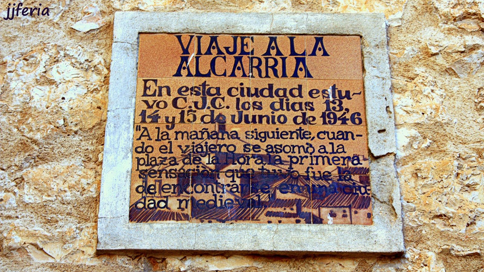 Placa conmemorativa del paso de Camilo J. Cela por Pastrana en su Viaje a La Alcarria (foto jjferia).