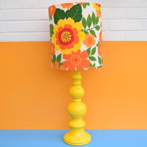 Vintage 1960s Table Lamp Flower Power Orange Yellow Vintage Lamp Bases Table Lamp Lamp