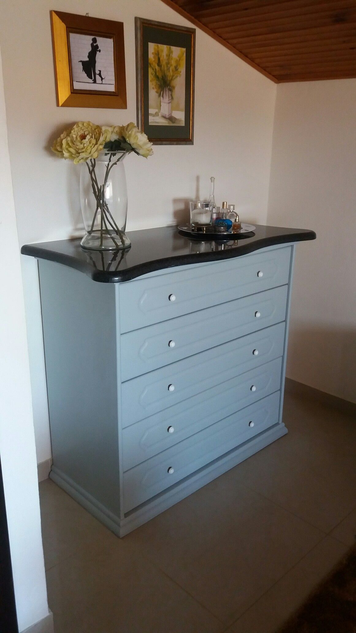 Revamped Dresser Painted With A Modern Color And Black Marble