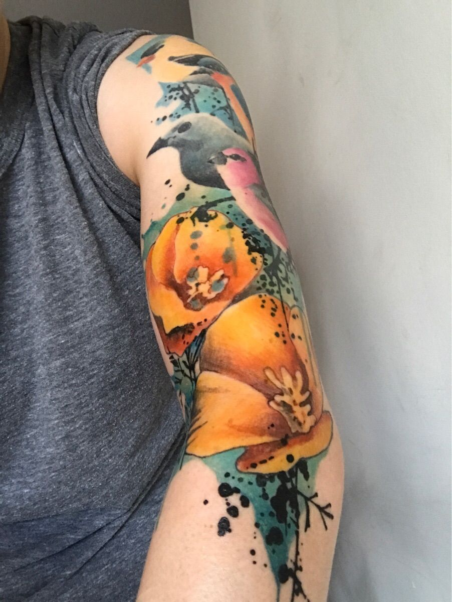 Added California poppies (my home state) to my birds piece by gene coffey at coffey shop tattoos
