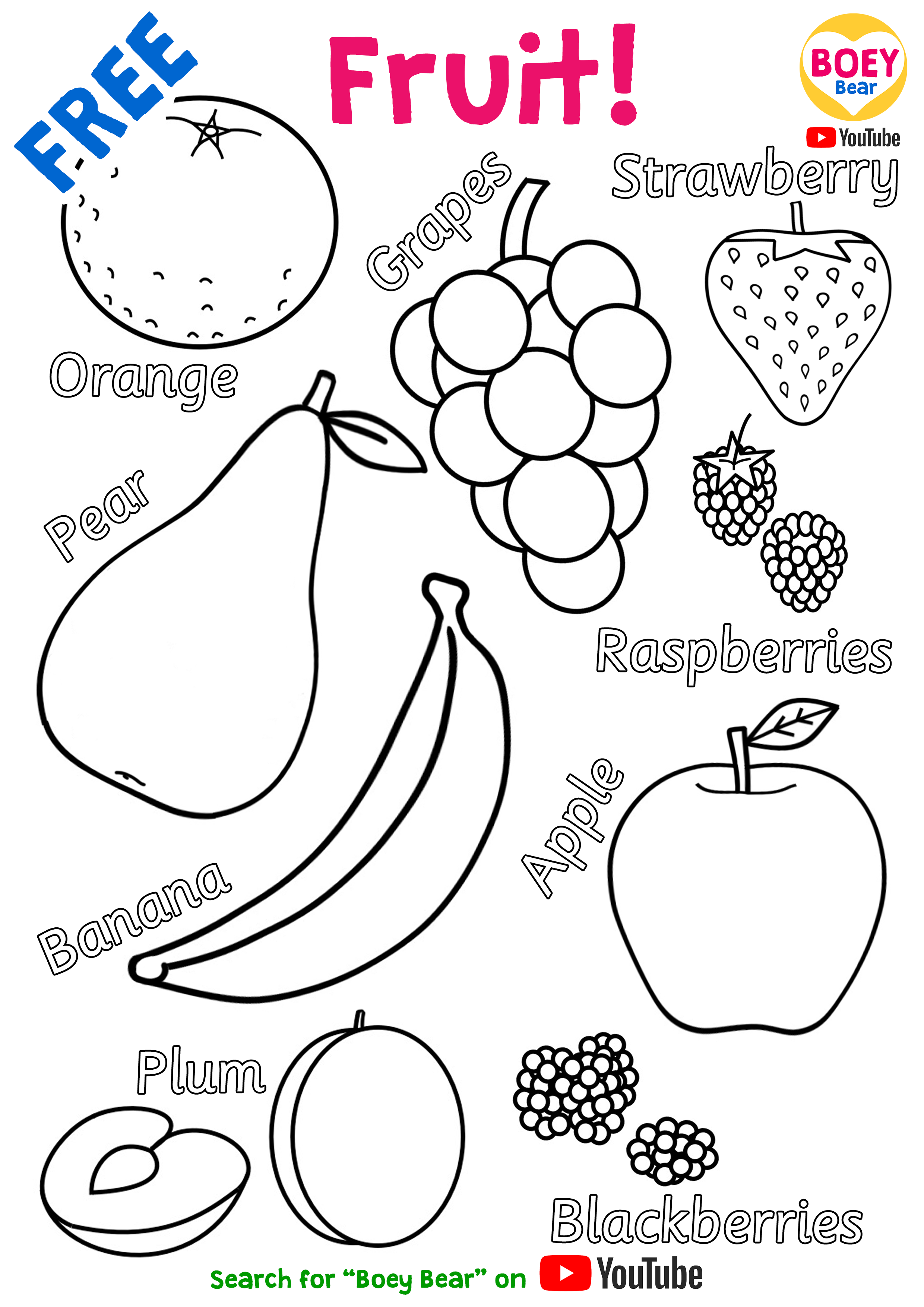 Fruit Vegetables Coloring Pages Free Printable For Kids Boey Bear In 2020 Printables Free Kids Free Preschool Printables Vegetable Coloring Pages