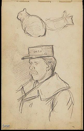 Edmond-Joseph Massicotte, Portrait d'un personnage à la casquette et études de chats, 1906. Mine de plomb sur papier, 21,8 x 13,6 cm. Collection MNBAQ. #mnbaq #MuseumCats