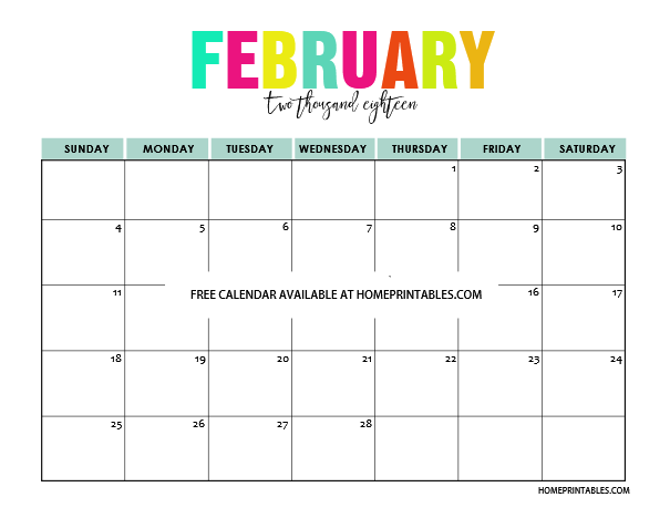 Printable Calendar 2018 In Full Colors Free To Print Art Teacher
