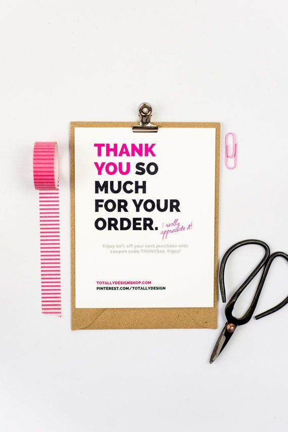 Thank you for your order card printable Instantly download - printable thank you note