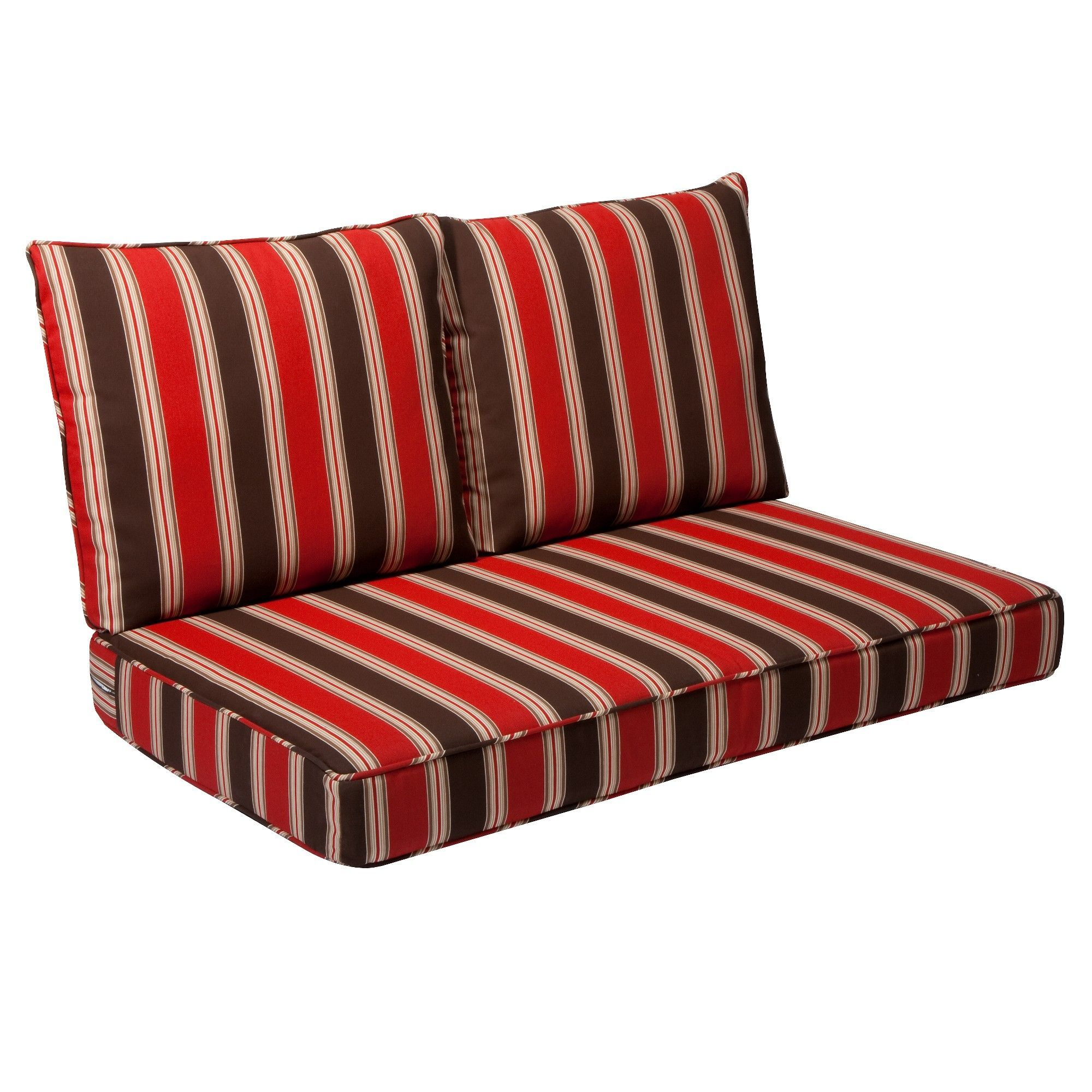 Rolston 3pc Outdoor Replacement Loveseat Cushion Set Red