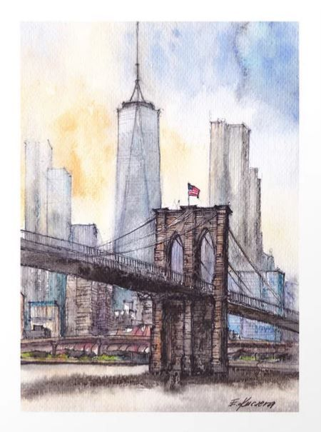 #ny #newyork #usa #illustration #ink #watercolor #art #sketch #urban #architecture #colorful #multicolor #aerialview #buildings #tourism #tourist #brooklyn #bridge #sale #gift #idea #s6 #society6 #printondemand #shopping #giftidea #handdrawn #drawing #painting #homedecor #decoration #artist #architect #fineart #turquoise #blue #sky #positiveart #positive #vacation #oneworldtradecenter #skyscrapers #water #artprint #print #frame #wall #decoration #decor #home #interior #design #bedroom