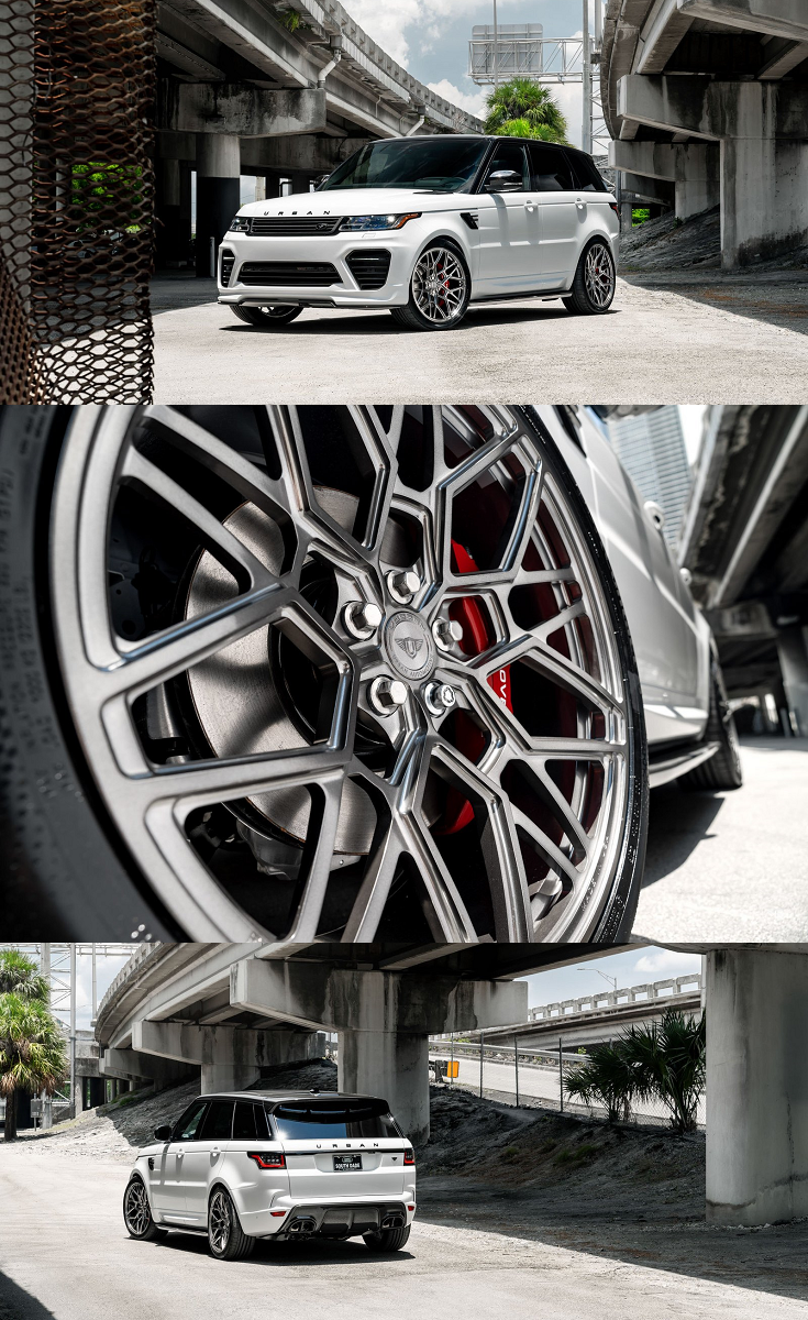 White Range Rover Highlighted By Distinctive Black Accents And Custom Vossen Wheels Range Rover White Vossen Range Rover