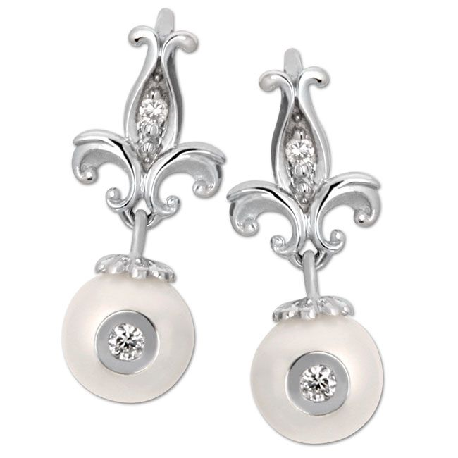 Galatea Diamond in a Pearl Earrings. Visit Renaissance Fine Jewelry in Vermont or a www.vermontjewel.com for the ultimate bridal  jewelry!