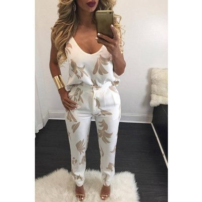 2016 Summer 2 Pieces Overalls Sexy Spaghetti Strap Pocket Long Rompers Womens Jumpsuit Print Playsuits Bodysuits Macacao Fashion