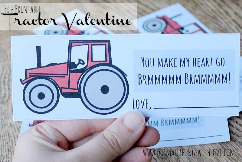 Tractor Valentine Cards : Free printable tractor valentine