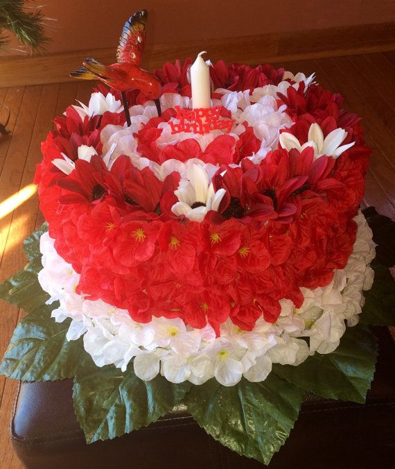 Silk Flower Birthday Cake Grave Decoration By MemorialsinSilk