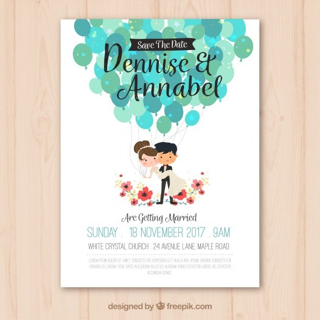 Wedding invitation with nice couple free vector pano pinterest wedding invitation with nice couple free vector stopboris Image collections