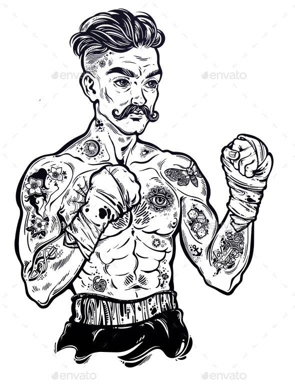 Vintage Tattooed Retro Boxer Fighter Champion Vintage Tattoo Vintage Style Tattoos Traditional Tattoo