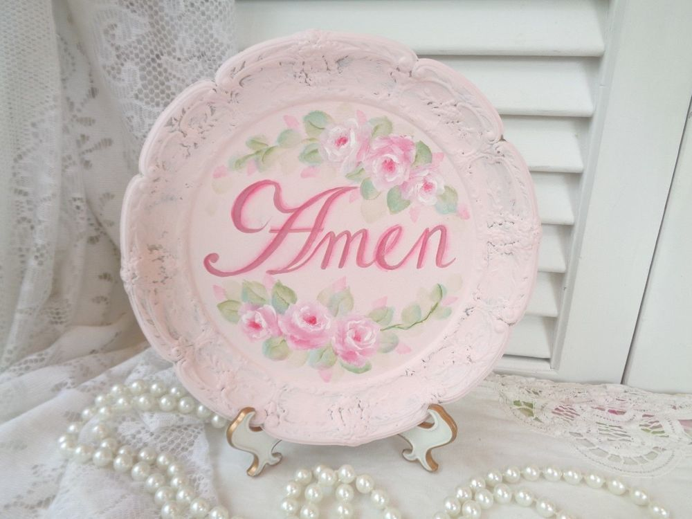 SHABBY PINK AMEN TRAY PLAQUE ORIGINAL hp rose chic vintage cottage hand painted  #Unbranded #DECORATIVE