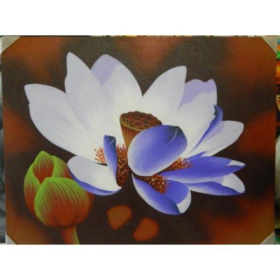 Lukisan Objek Motif Bunga Teratai Tinggi 40cm X Lebar 90cm Bahan Canvas Sangat Cocok Digunakan Sebagai Pajangan Di Ruang Ta Lukisan Bunga Teratai Teratai