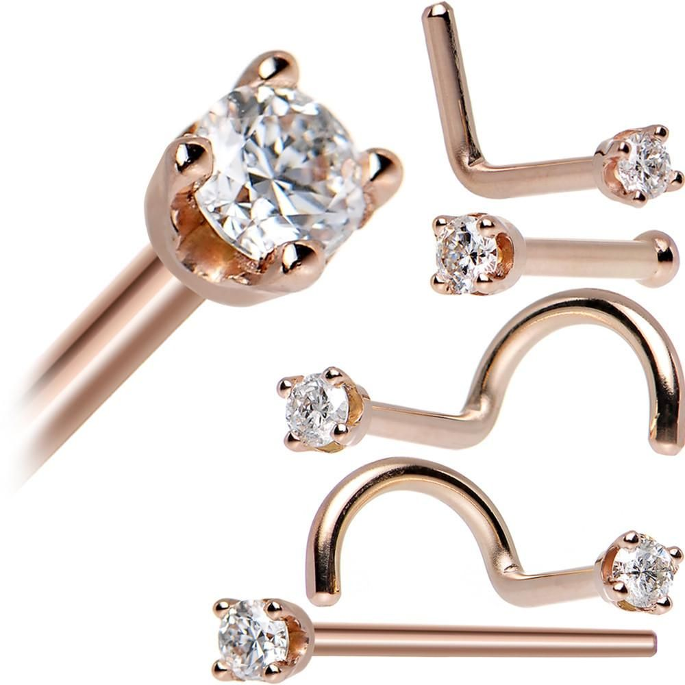 Cute nose piercing jewelry  KT Rose Gold mm Genuine Diamond Nose Ring   For the  of All