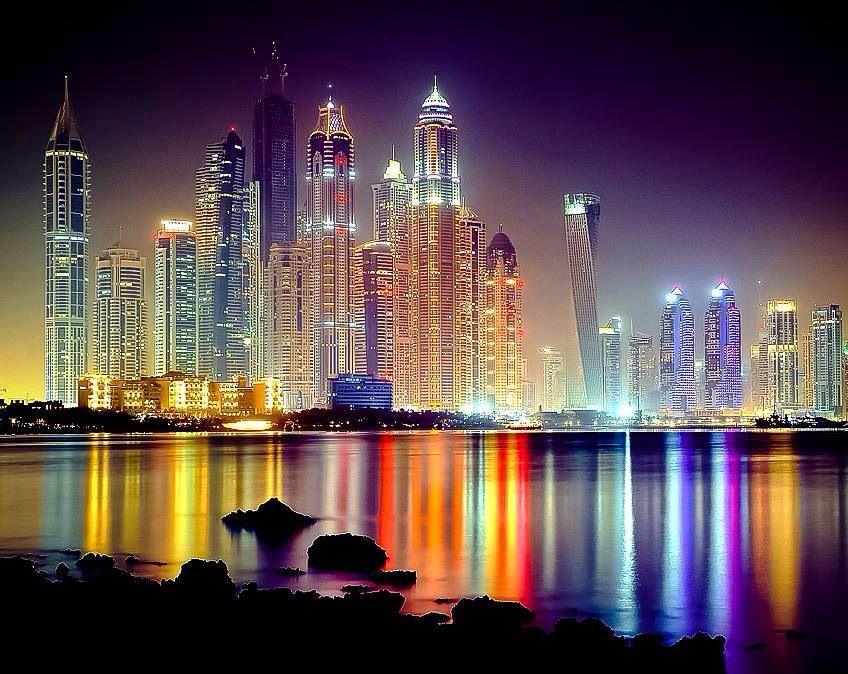 dubai night places amazing skyline uae lights nights pretty дубай reflections