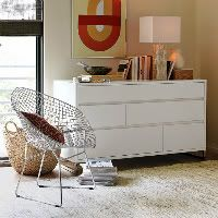 New Contemporary Hampton 6 Chest Drawers Lowboy/Cabinet/Dresser In Gloss  White