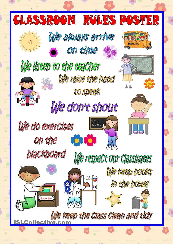 Classroom Ideas Esl ~ Classroom rules poster esl pinterest