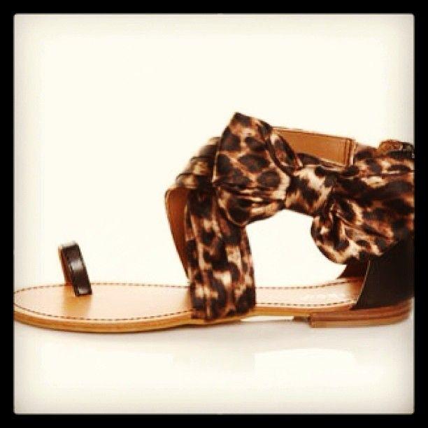 leopard print bow sandal
