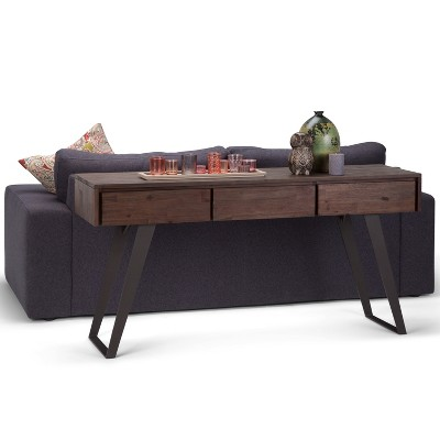 Lowry Console Sofa Table Distressed Charcoal Brown Simpli Home