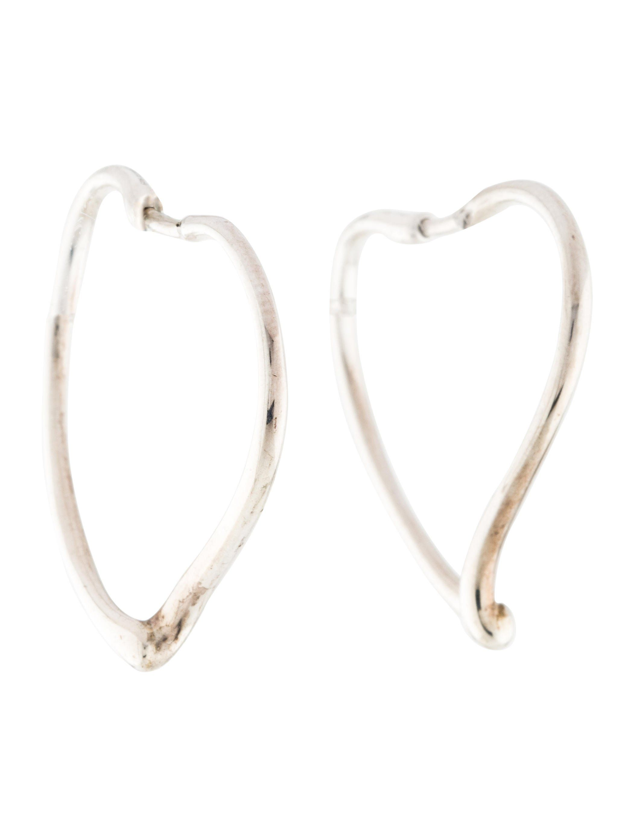 bd988fbbb From the Elsa Peretti Collection. Sterling silver Tiffany & Co. Open Heart  hoop earrings featuring earwire.