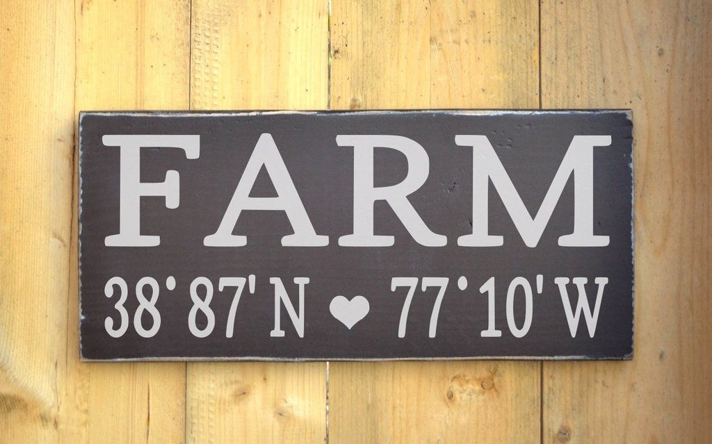 Personalized Farm House Home Wood Sign Longitude Latitude Wooden Signs Painted Custom Map GPS Coordinates Plaque Farmer Farming Ranch Gift