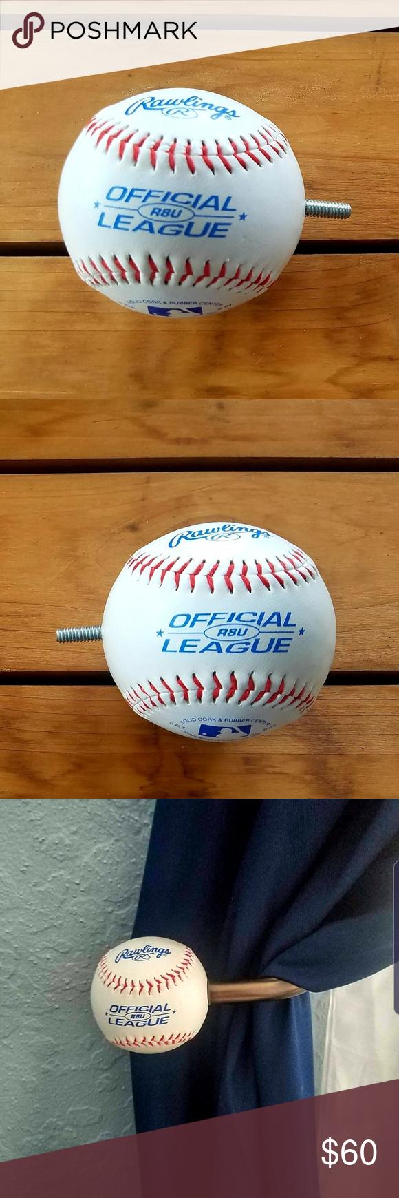 Baseball Curtain Rod Ends Tie Backs 8 Ct Handmade Baseball