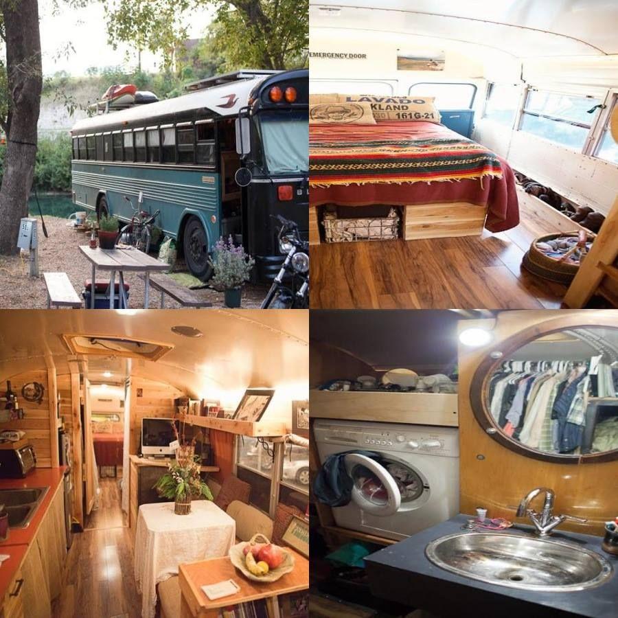 bus rv conversion home in a bus pinterest caravane. Black Bedroom Furniture Sets. Home Design Ideas