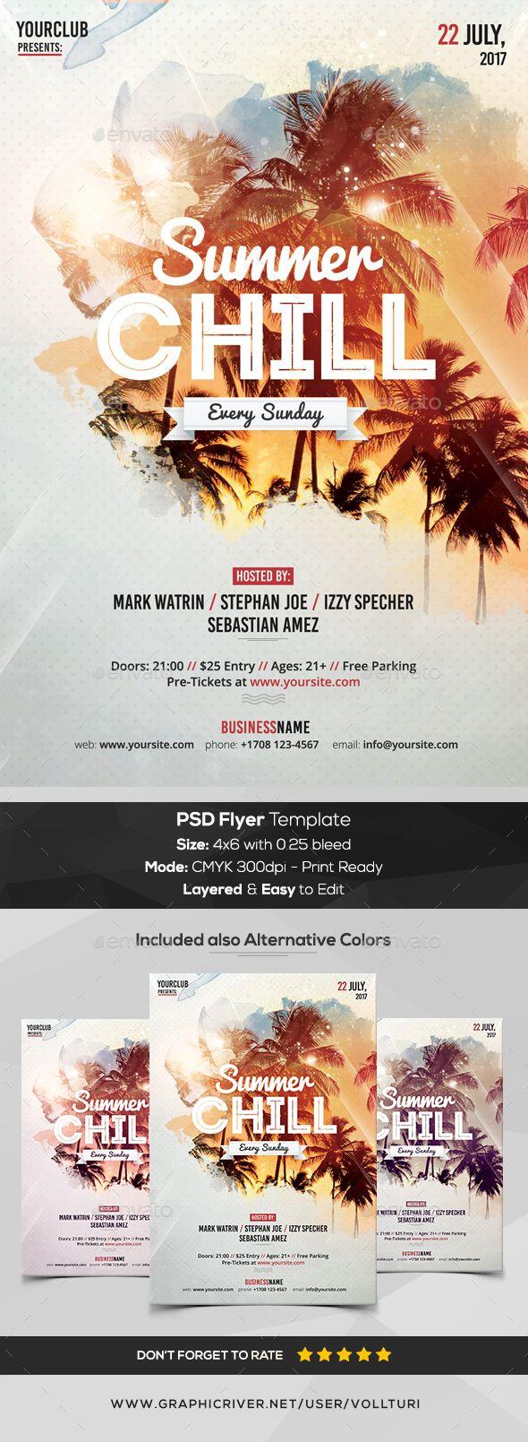 Summer Chill - PSD Flyer Template | Psd flyer templates, Event ...