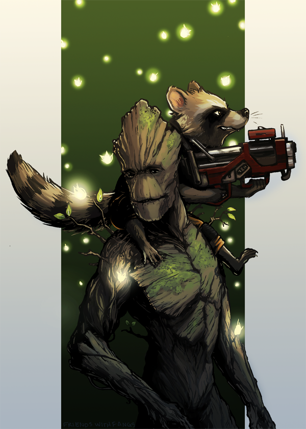 Woodman And Raccoon The Boy Wonder By Friendswithfangs Comic Book Heroes Guardians Of The Galaxy Art Design