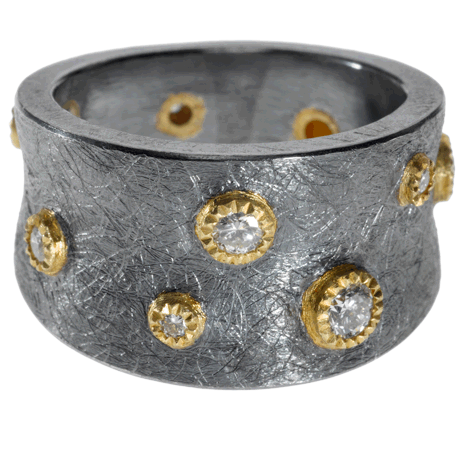 trdr383   18ky gold and sterling silver with patina, and white brilliant cut diamonds (.355ctw)