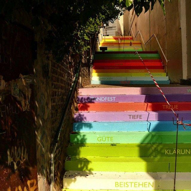 Rainbow Staircase in Wuppertal, Germany, by German artist Horst Gläsker http://www.horst-glaesker.de/
