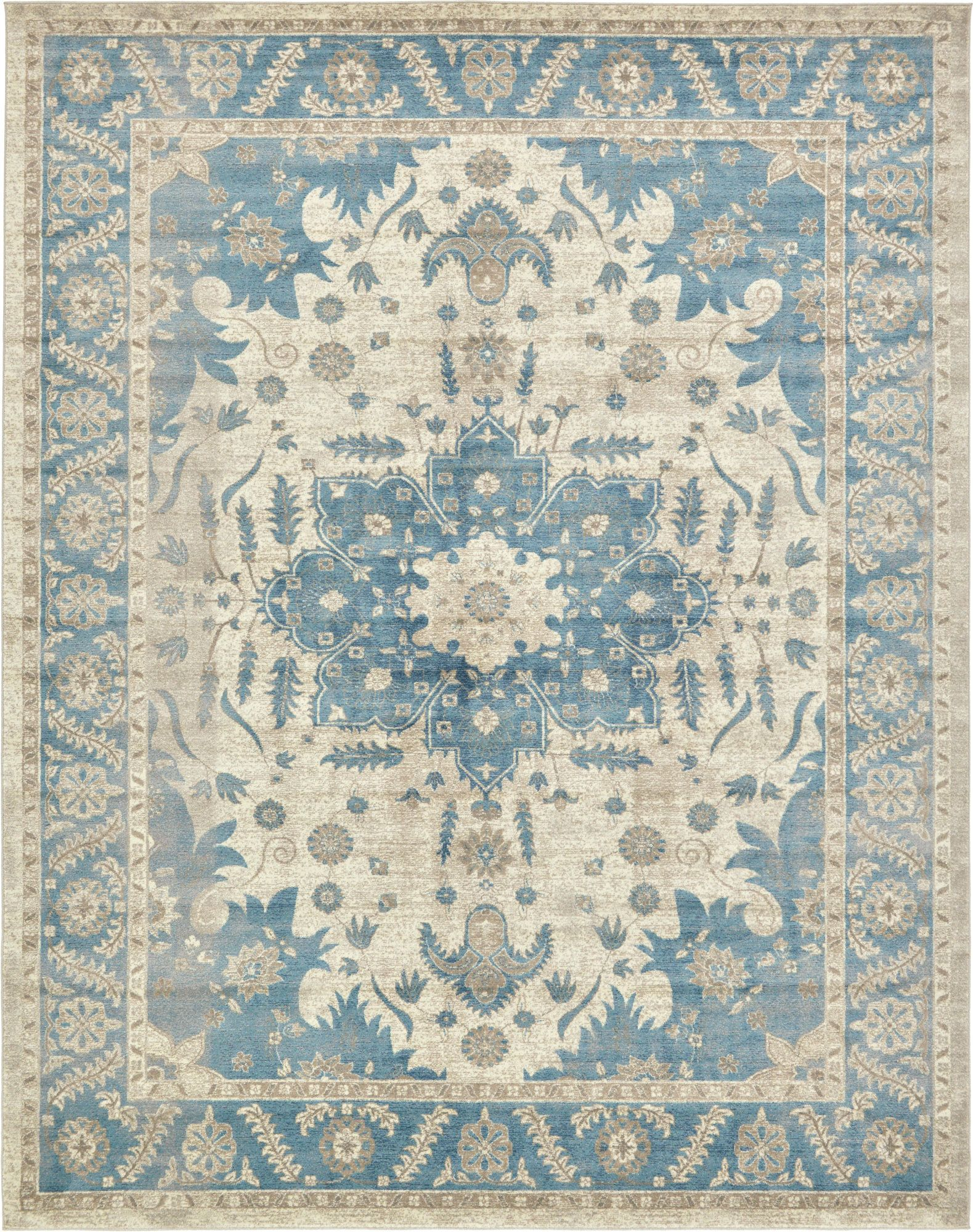 Sampson Rug In Cream & Blue