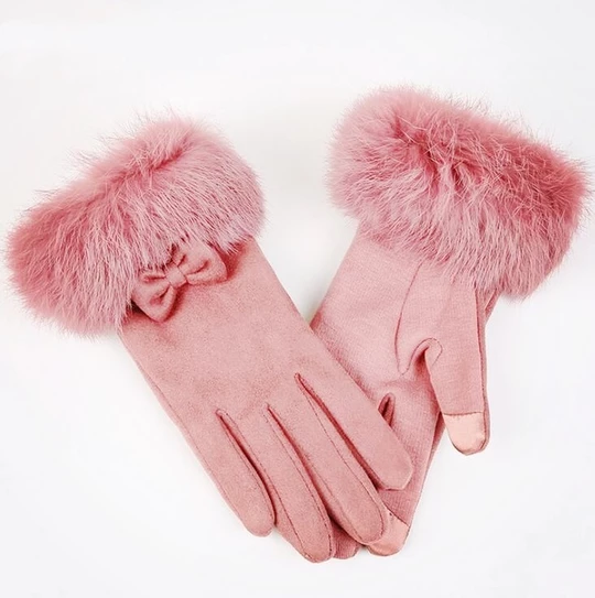 Lovely Fleece Lined Ladies Gloves With Faux Fur Fluffy Trim Detailing