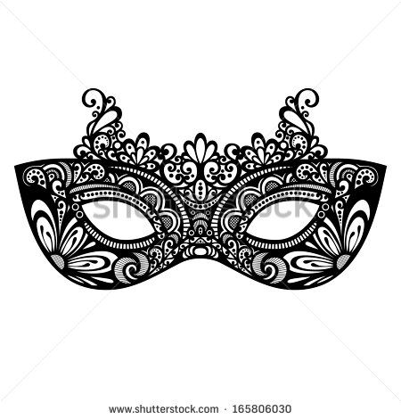 Beautiful Masquerade Mask (Vector), Patterned design - stock - masquerade mask template