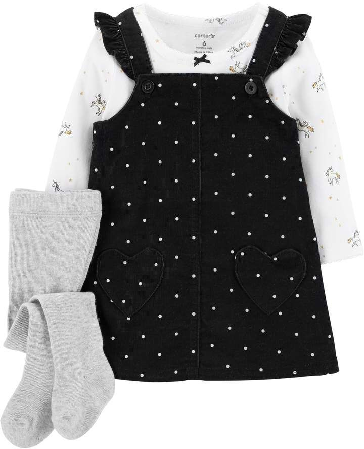 250f08deeb2ab9 Carter's Baby Girl Polka-Dot Corduroy Jumper, Unicorn Tee & Tights Set