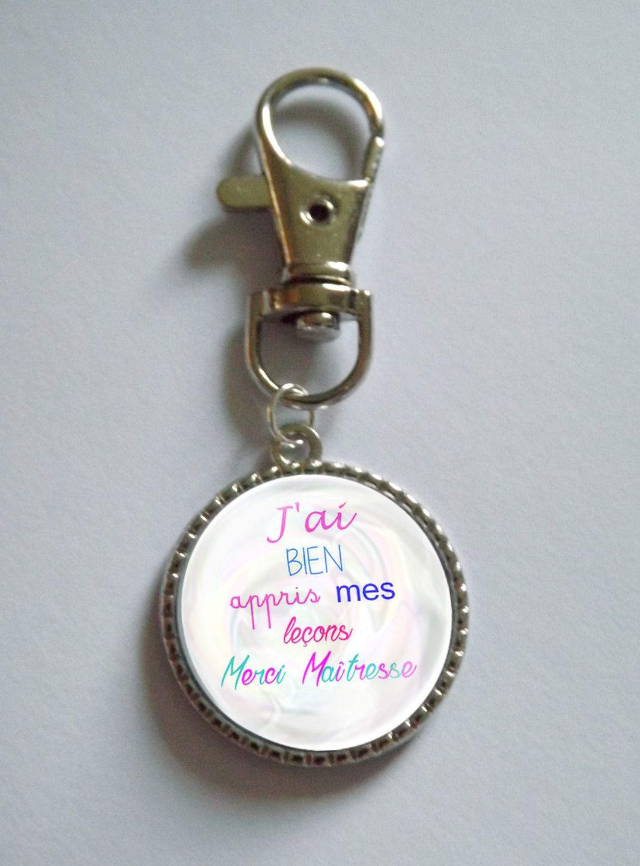 porte-clés étiquette vintage MERCI MAITRESSE cadeau maîtresse