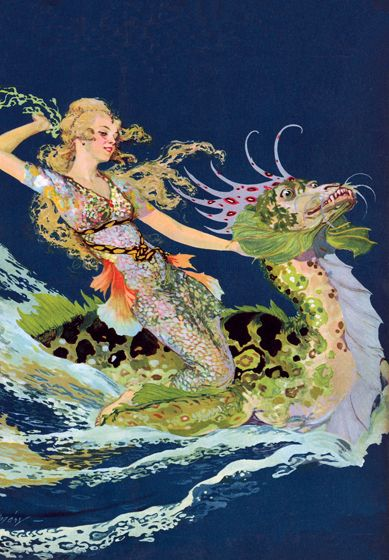 The versatile Willy Pogany, who in addition to creating beautiful illustrations was a muralist and set designer for film and stage, gave us this lovely mermaid.