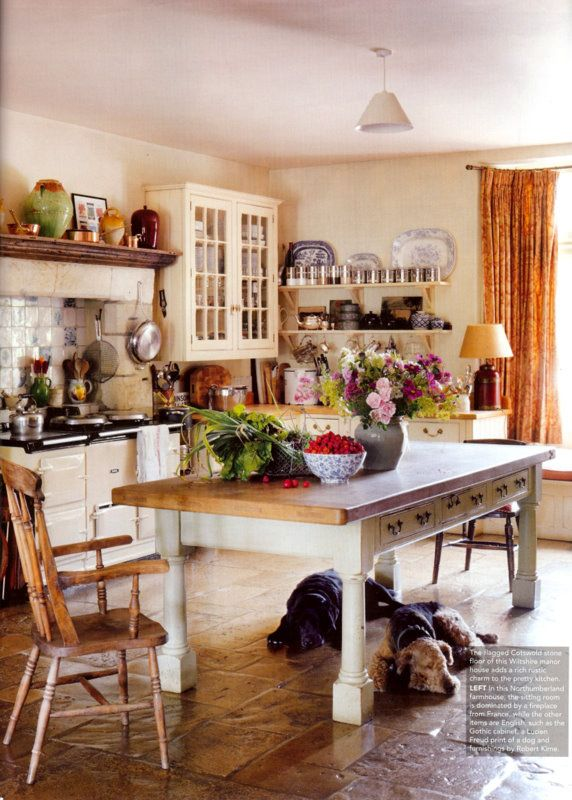 Small Kitchen Decorations Dining Room Furniture Cozy: Country Kitchen, With A Euro AGA And A Cotswold Stone