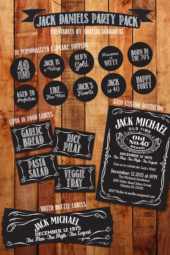 Jack Daniels Birthday Party Package Invitation Cupcake Toppers Food Tags Water Bottle Labels 40th Decoration 30 50th 60th 70th 80th