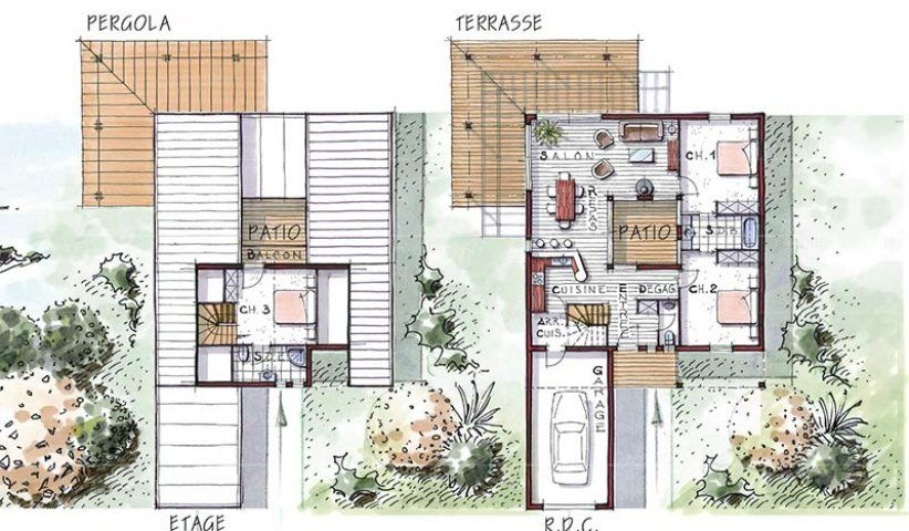 Plan Maison Bois Patio Iris 112