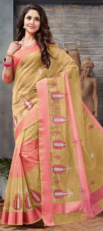 572238514c 703380 Beige and Brown color family Embroidered Sarees in Super Net fabric  with Border, Machine